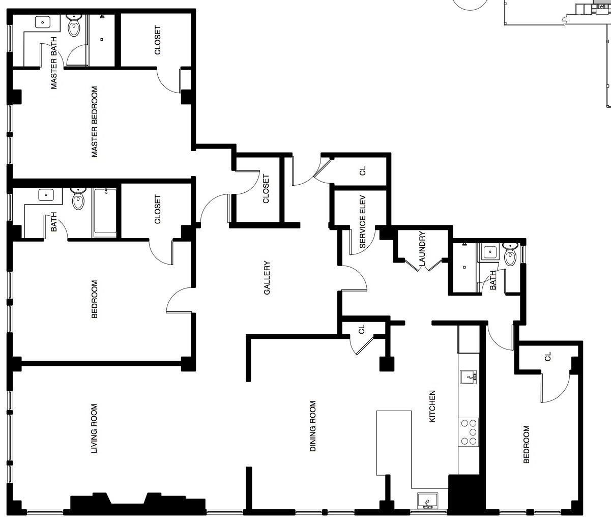 3 bedroom, 3 bath, Unit 304